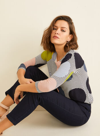 Dot & Stripe Printed Sweater, Multi,  sweater, boat neck, knit, 3/4 sleeves, dot & stripe print, fall winter 2019