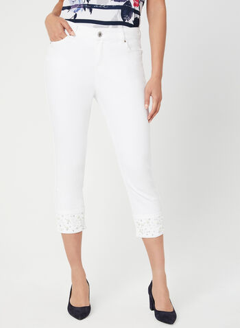 Embellished Signature Fit Capri Pants, White, hi-res