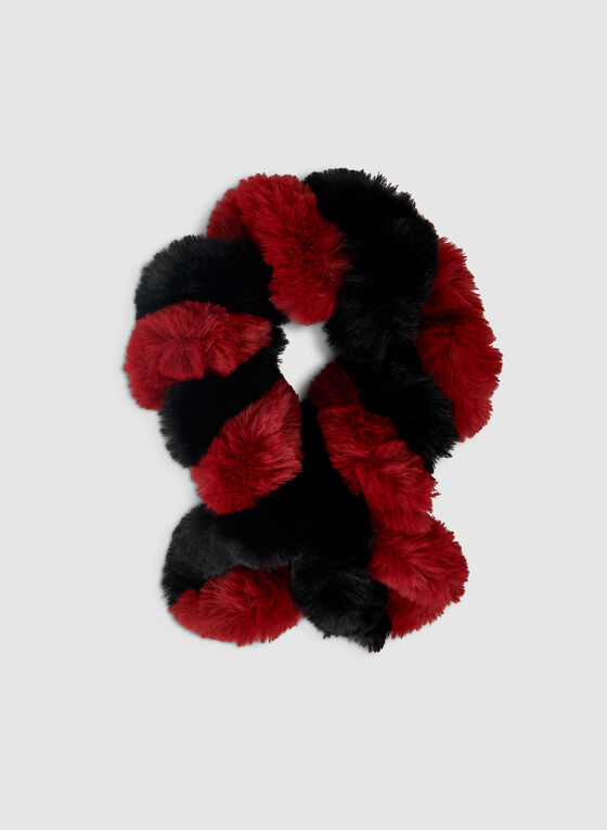 Twisted Faux Fur Scarf, Red