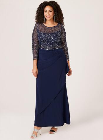 Long Sequin Evening Dress, Blue, hi-res