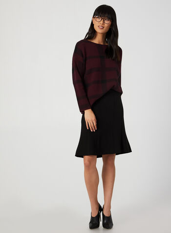 M Made in Italy - Pull à carreaux, Rouge,  encolure bateau, manches dolman, automne hiver 2019, haut, chandail