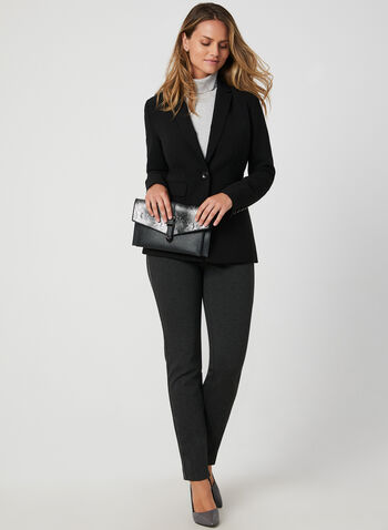 City Fit Straight Leg Pants, Grey,  straight leg, glitter, contrast trim, stretchy, fall 2019, winter 2019
