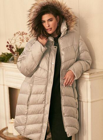 Manteau iridescent en duvet végane, Brun,  automne hiver 2020, manteau, matelassé, iridescent, duvet, végane, capuchon, fausse fourrure, poches, manteau d'hiver