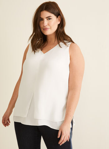 V-Neck Crepe Blouse, Off White,  blouse, sleeveless, v neck, crepe, spring summer 2020