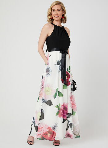 Cleopatra Neck Maxi Dress, White, hi-res