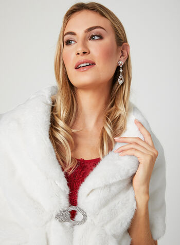 Faux Fur Shawl , Off White, hi-res