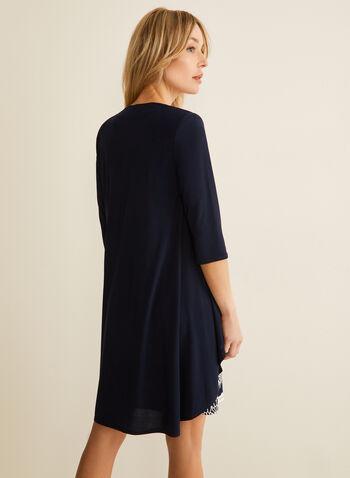 Cardigan & Floral Dress Set, Blue,  ensemble, set, dress, cardigan, floral, necklace, duster, 3/4 sleeves, sleeveless, spring summer 2020