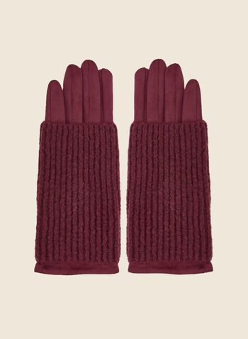 Faux Suede Gloves, Red,  gloves, faux suede, knit, fall winter 2020