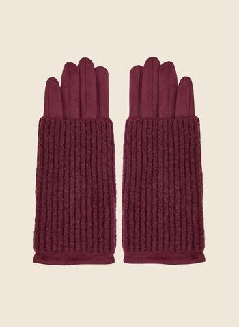Gants en faux suède , Rouge,  gants, faux suède, tricot, accessoire, automne hiver 2020