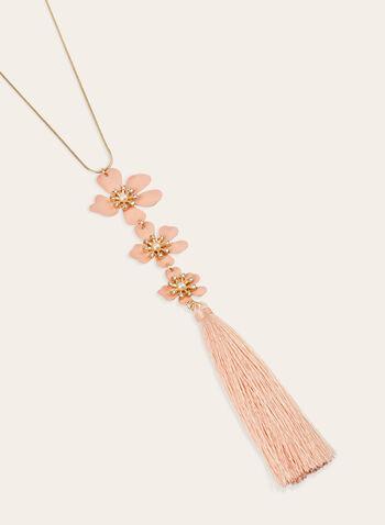 Collier sautoir à pendants fleurs et pompon  , Rose, hi-res