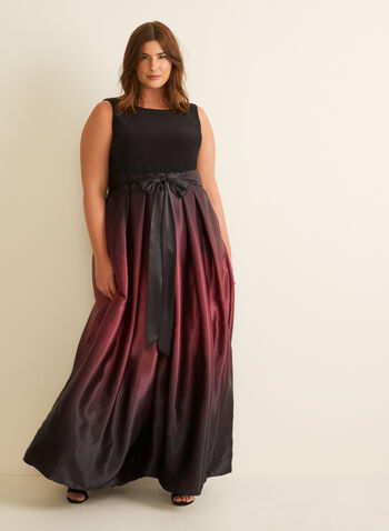 Ombré Satin Evening Dress, Black,  dress, evening, occasion, sleeveless, jersey, satin, ombré, ribbon, scoop neck, v-back, ballgown, crinoline, spring summer 2020