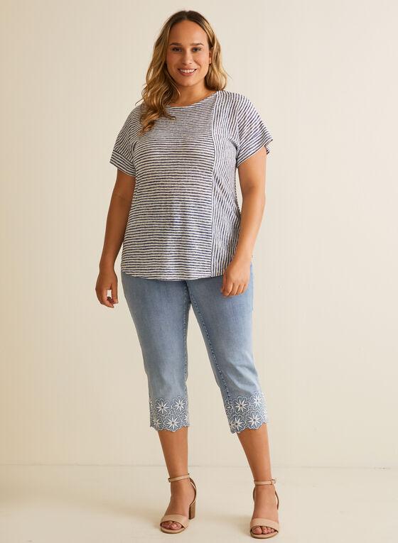 Striped Linen-Like T-Shirt, Blue