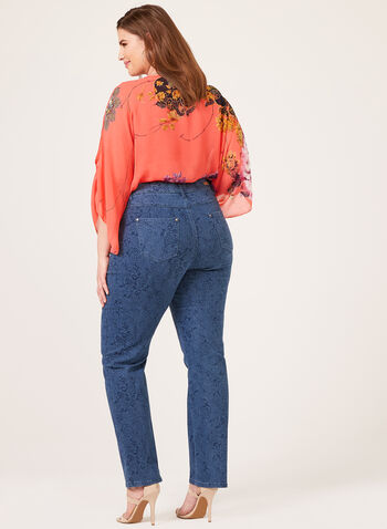 Simon Chang – Floral Print Straight Leg Jeans, Blue, hi-res