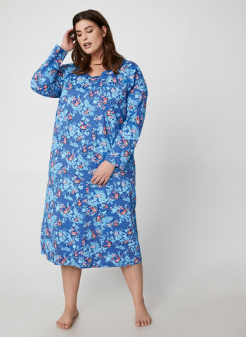 Hamilton - Floral Print Cotton Nightgown, Blue,  nightgown, floral, long sleeves, cotton, fall winter 2019