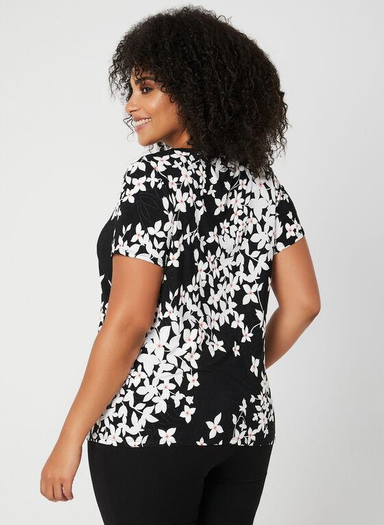 Haut floral à manches courtes, Noir