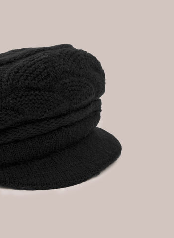 Casquette en tricot , Noir,  hat, beret, peak, knit, fall winter 2020