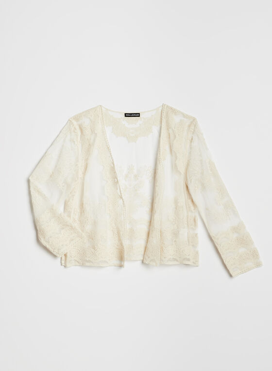 Nina Leonard - ¾ Sleeve Embroidered Bolero, Off White, hi-res