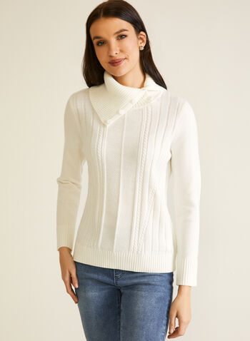 Ribbed Knit Sweater With Flap Collar, White,  fall winter 2020, sweater, knit, long sleeves, ribbed, cable, holidays, flap