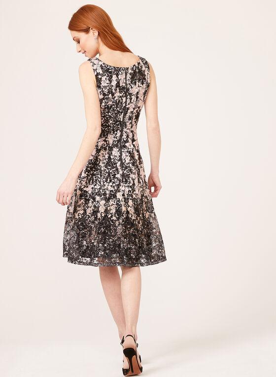 Sleeveless Princess Fit Flared Lace Dress, Black, hi-res