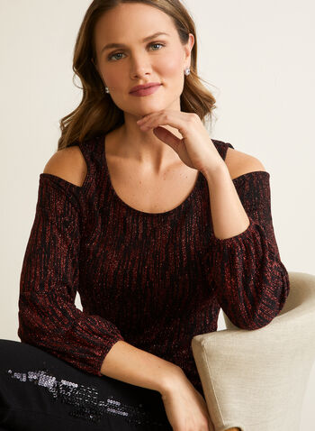 Glitter Knit Cold Shoulder Top, Black,  top, glitter, abstract, cold shoulder, fall winter 2020