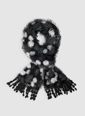 Hairy Polka Dot Print Scarf, Black,  scarf, polka dot scarf, polka dot, print scard, print, fringes, fall 2019, winter 2019