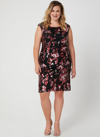 Metallic Floral Print Dress, Black, hi-res,
