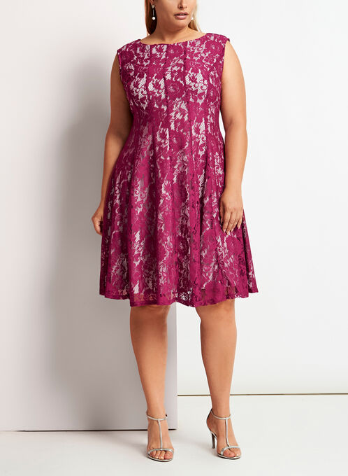 Panelled Fit & Flare Dress, Red, hi-res