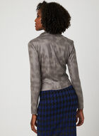 Faux Crackled Leather Jacket, Grey, hi-res