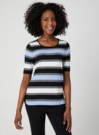 T-shirt rayé avec ajour au dos, Bleu, hi-res