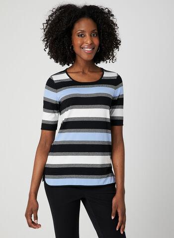 Stripe Print T-Shirt, Blue, hi-res,  short sleeves, spring 2019, stretchy