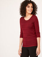 ¾ Sleeve Knit Sweater, Brown, hi-res