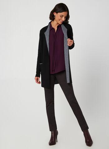 Chemisier en crêpe à effet plissé, Violet, hi-res,  chemisier, blouse, manches longues, crêpe, plis, automne hiver 2019