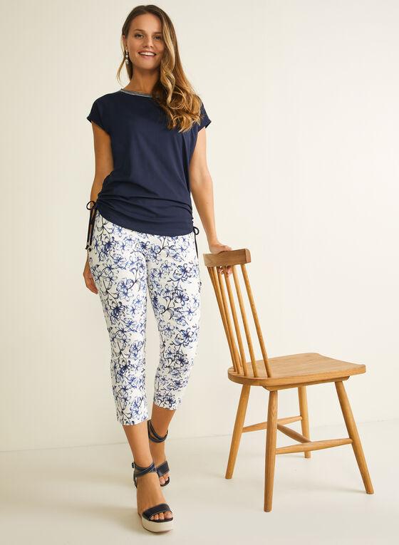 Capri pull-on motif tropical, Bleu