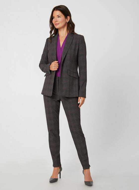 Notch Collar Blazer, Grey, hi-res