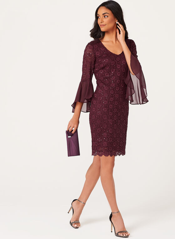Bell Sleeve Sequin Lace Dress, Red, hi-res
