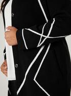 Elena Wang - Cardigan à col cranté et motif contrastant, Noir, hi-res