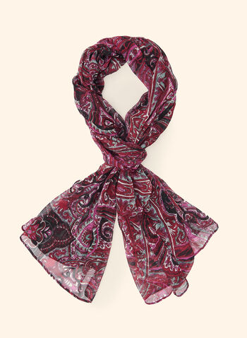 Ornamental Print Scarf, Red,  scarf, lightweight, ornamental, fall winter 2020