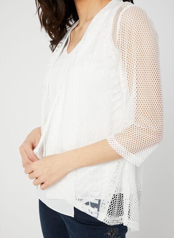 Alison Sheri - Haut ouvert transparent à motif, Blanc, hi-res