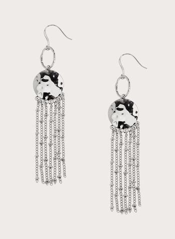 Boucles d'oreilles à pendants chaînes, Argent, hi-res