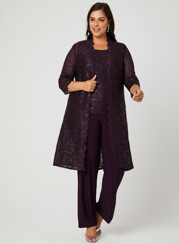 Sequin Lace Pantsuit, Purple, hi-res