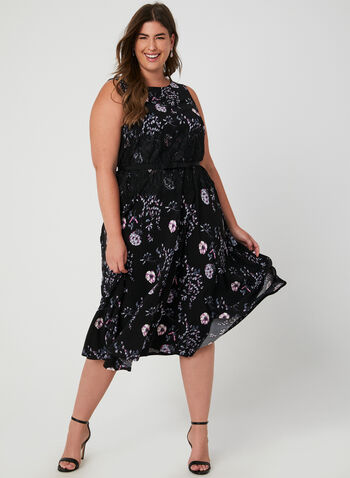 Floral Print Fit & Flare Dress, Black,  lace, fit & flare, belted, fall 2019, winter 2019