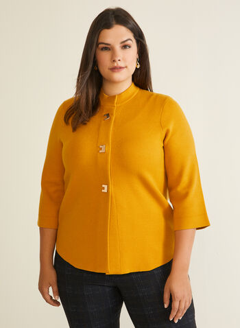 3/4 Sleeve Mock Neck Cardigan, Yellow,  cardigan, 3/4 sleeves, flared sleeves, trapeze, metallic, buttons, fall winter 2020