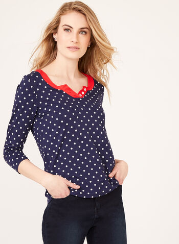 Alison Sheri – Contrast Trim Polka Dot Top, White, hi-res