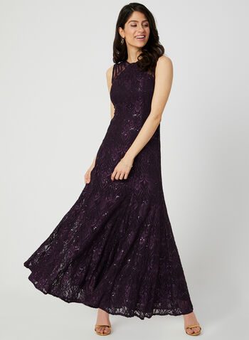 Sequin Lace Mermaid Dress, Purple, hi-res