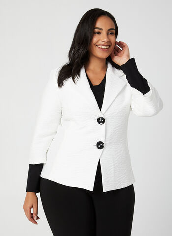 Joseph Ribkoff - Contrast Sleeve Knit Jacket, White,  jacket, notched collar, long sleeves, large buttons, knit, Joseph Ribkoff, fall 2019