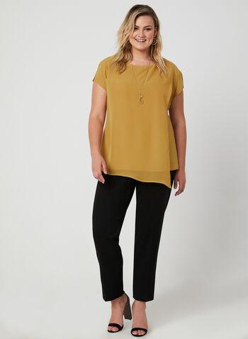 Jersey & Chiffon Top, Yellow, hi-res