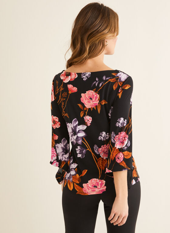 Floral Print Angel Sleeve Top, Red