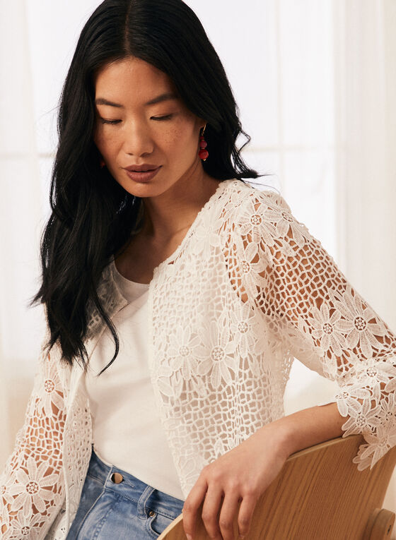 Floral Crochet Top, Off White