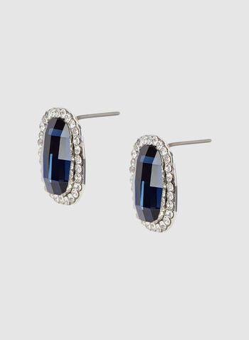Boucles d'oreilles à pierres facetées et perles, Bleu, hi-res