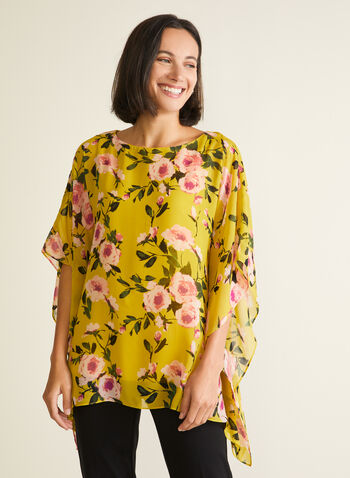 Floral Print Poncho Blouse, Green,  blouse, poncho, floral, scoop neck, spring summer 2020